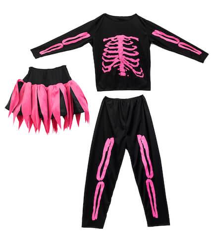 Disfraz de esqueleto con falda fucsia de Imaginarium
