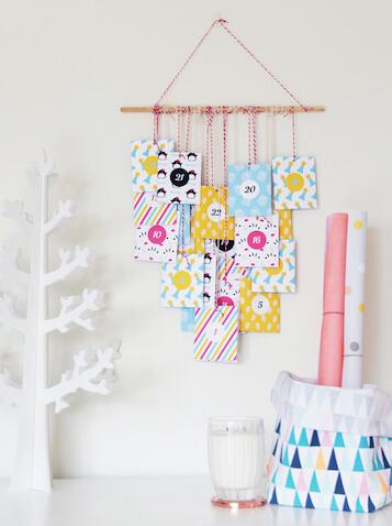 Calendario de adviento DIY con bolsas de colores