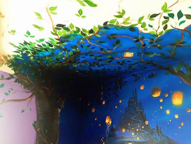 habitación decorada de Enredados de Disney
