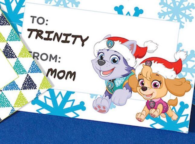 Etiquetas para regalos de Navidad la Patrulla Canina