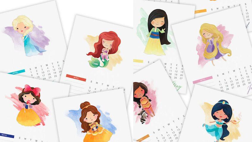 Calendario de las Princesas Disney para el 2017 para imprimir