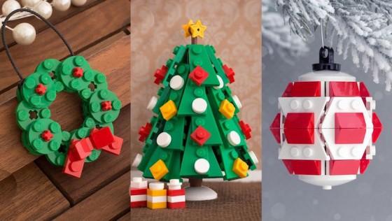 Adornos de Navidad hechos con Lego para hacer con los niñ@s