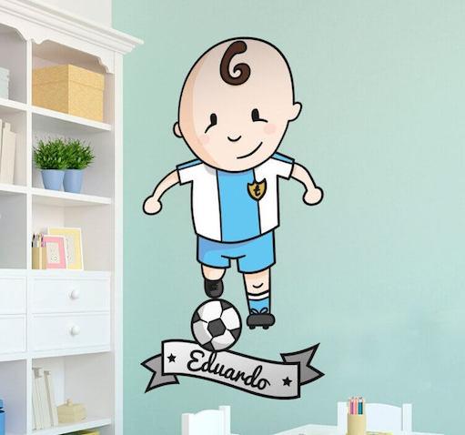 Vinilo infantil personalizado de futbolista