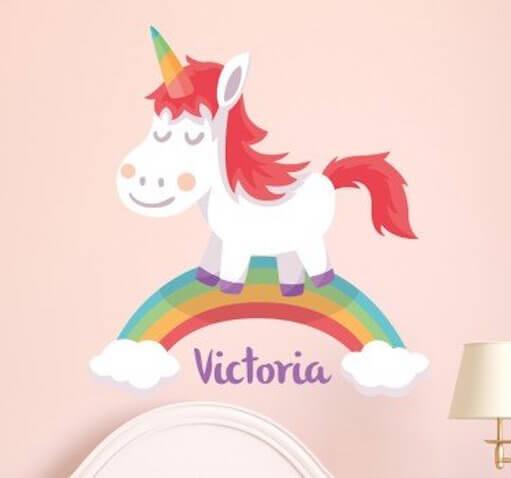 Vinilo infantil personalizado de Unicornio