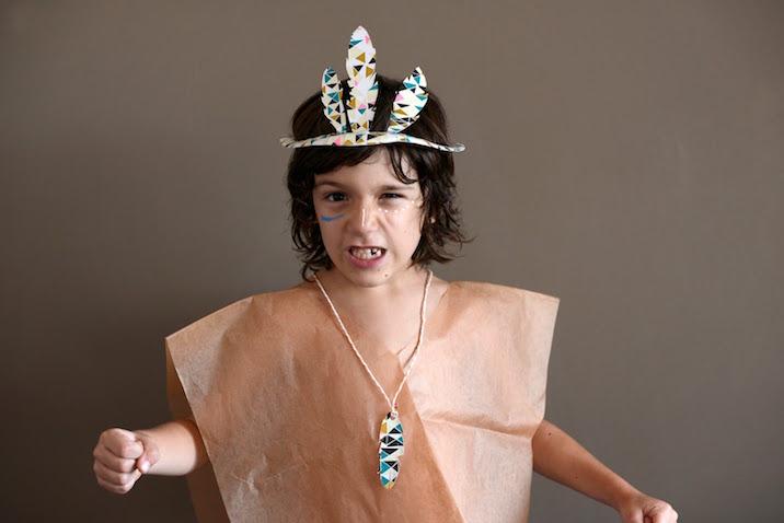 Disfraz casero de indio para niño