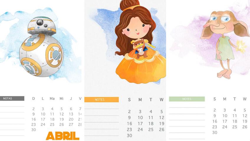 3 calendarios de abril para imprimir a los niñ@s