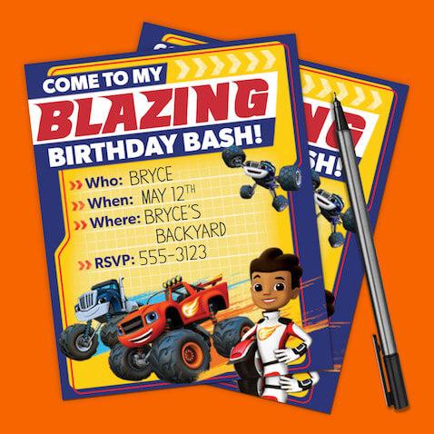Invitaciones fiesta de cumpleaños de Blaze y los Monster Machines para imprimir