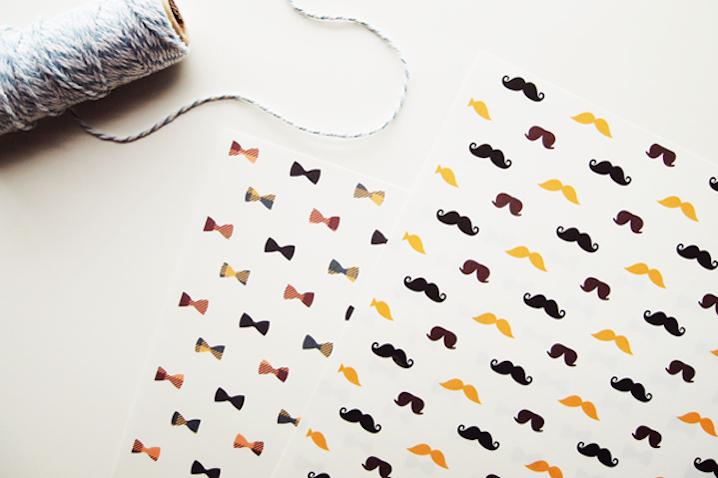 Papel de regalo para imprimir de bigotes y pajaritas
