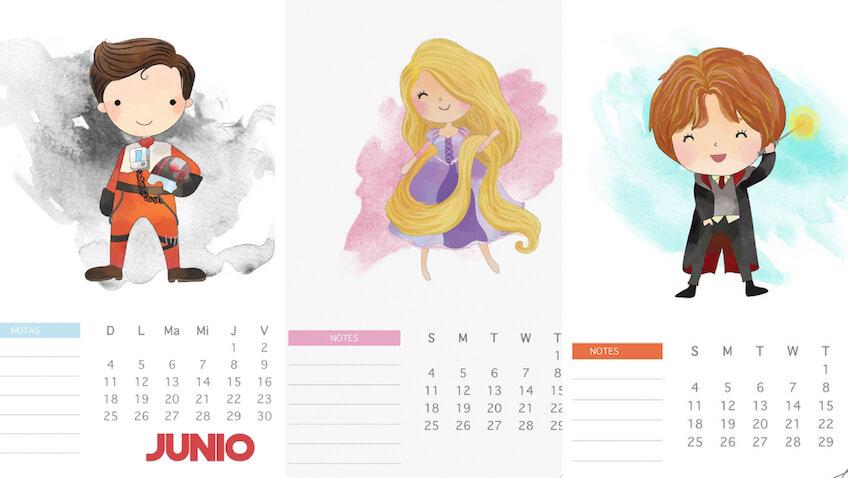 3 calendarios de junio para imprimir a los niñ@s