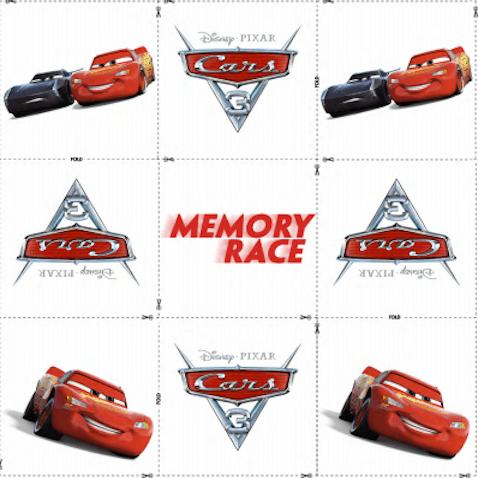Juego memoria de Cars 3 para imprimir