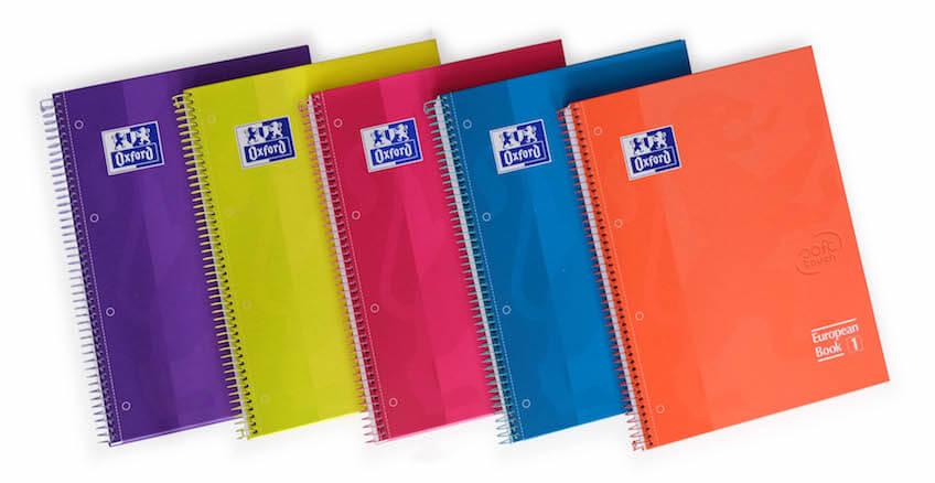 Cuadernos Oxford con espirales colores