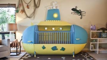 Cuna para bebés con original diseño de submarino