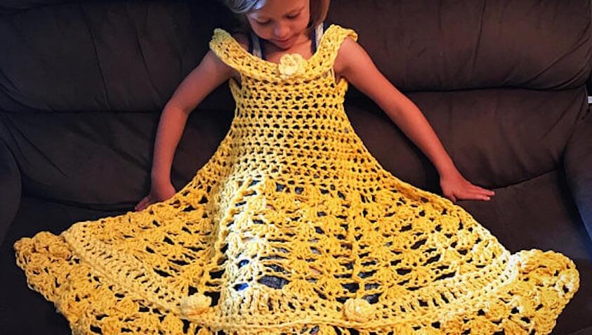 manta hecha de ganchillo para bebés y niños del vestido princesa disney bella