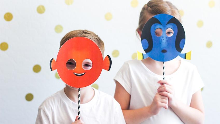 máscaras para imprimir gratis de Dory y Nemo para disfraces caseros de Buscando a Dory