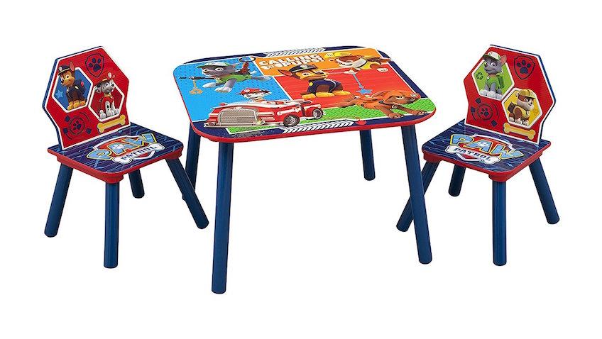 Mesa infantil con dos sillas de la Patrulla Canina para niños