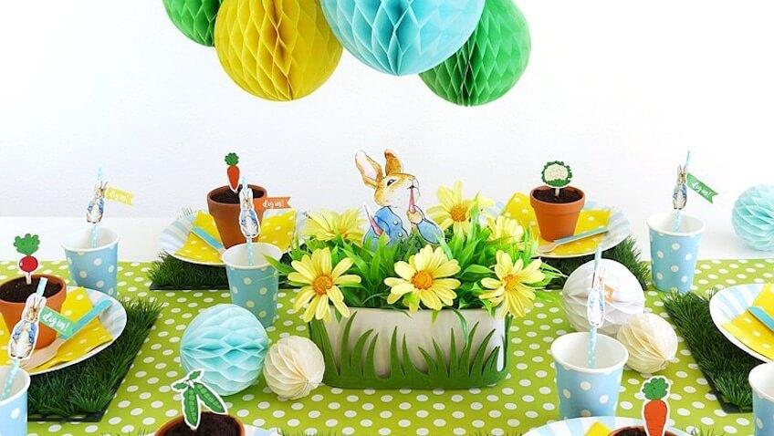 Fiesta de cumpleaños de Peter Rabbit decoración para mesas