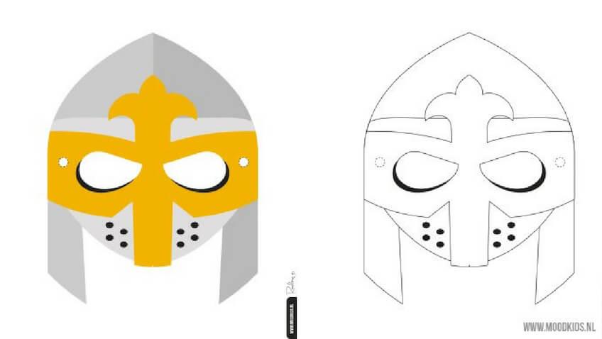 Máscaras para Carnaval de Caballero Medieval para imprimir