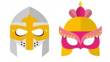 Haz máscaras para Carnaval de Caballero Medieval y Doncella