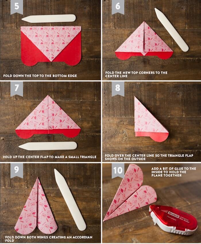 Cómo hacer aviones de papel con forma de corazón, tutorial paso a paso