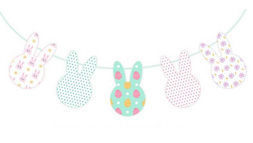 Guirnalda de Conejitos de Pascua para imprimir gratis para decorar