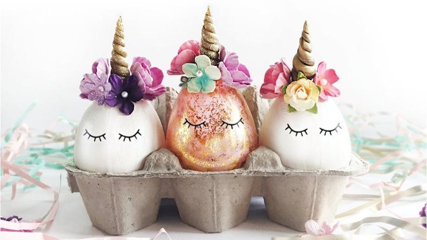 Huevos de Pascua decorados de Unicornios