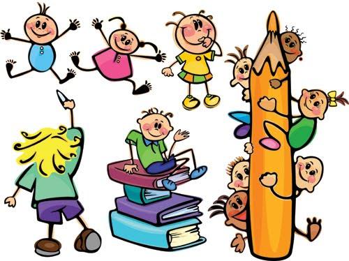 magen de niños jugando con libros y lápiz