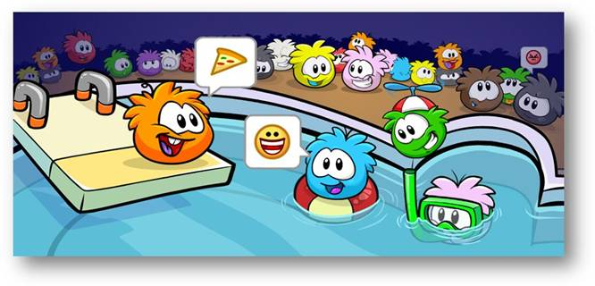 Spa de Puffles en El Club Penguin