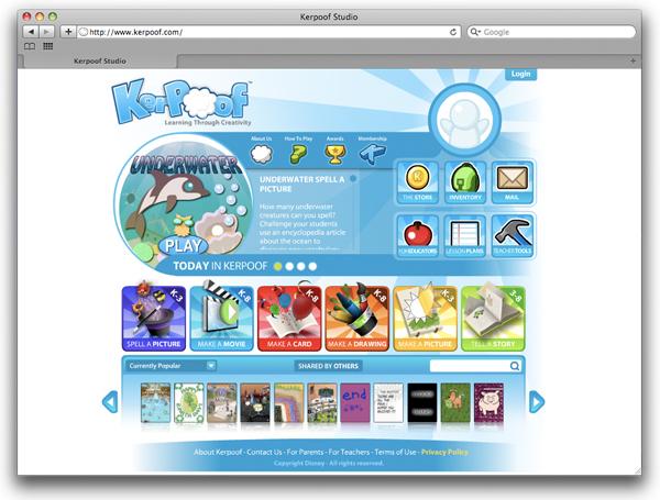 Kerpoof página web con juegos gratis para niños