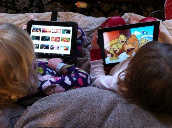 niños y el uso de tabletas