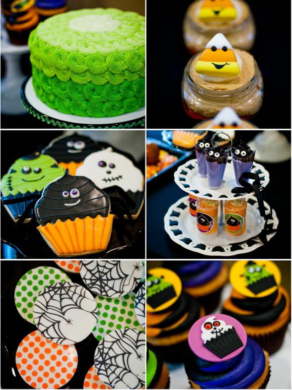 tarta, cupcakes y galletas para halloween