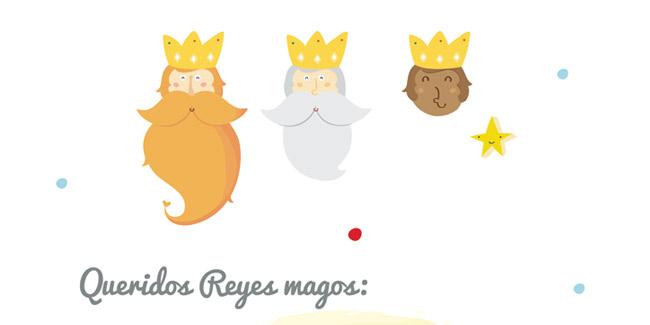 carta para los reyes magos con imagenes de los 3 reyes