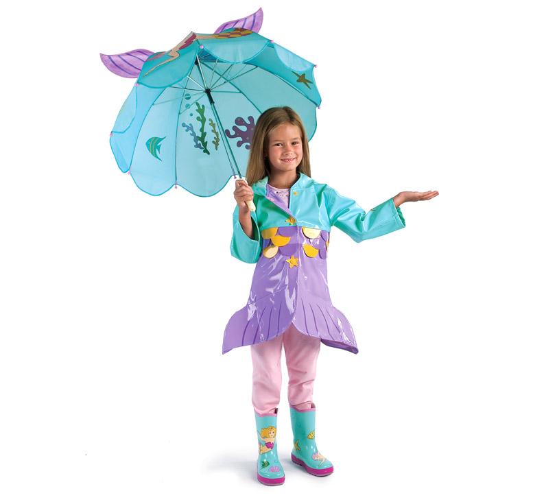 chubasquero niña en forma de sirena con paraguas y botas de agua
