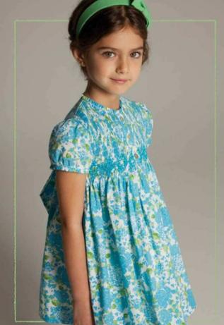 vestido niñas flores azul y verdes