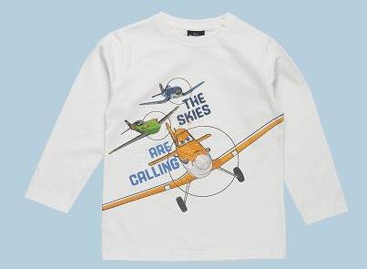 camiseta blanca manga larga de aviones de disney dusty