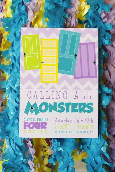 invitación cumpleaños monstruos university