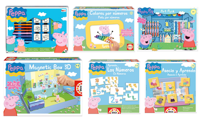 seis juguetes de peppa pig, puzzle peppa pig, colorea por número peppa pig, art pack Peppa Pig, magnetic box 3D Peppa Pig, aprendo los número Peppa Pig, Asocio y aprendo con Peppa Pig