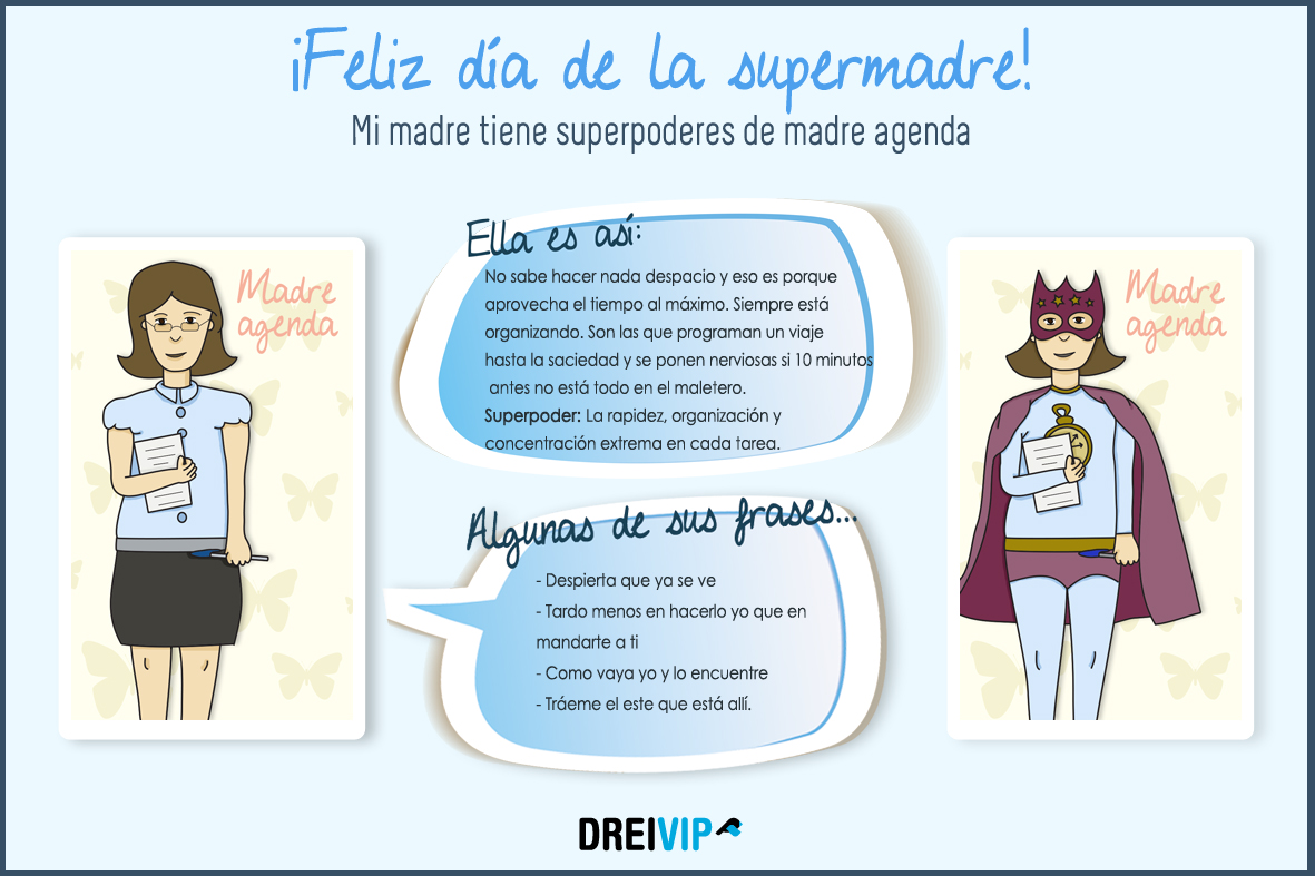 Infografia Dia de la madre superpoder mama agenda
