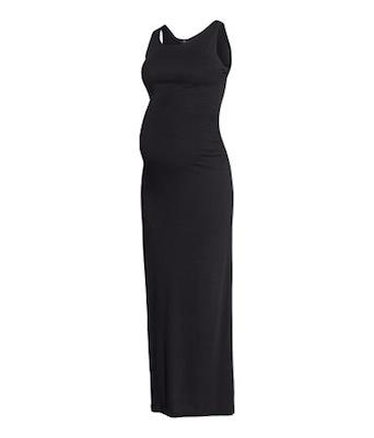 Vestido negro premamá largo de H&M