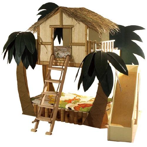 cama infantil con forma de cabaña tropical