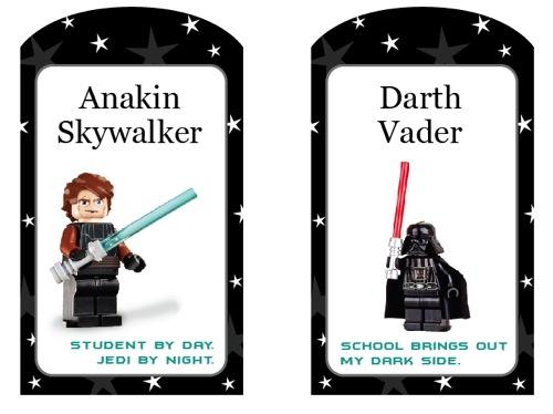 Etiquetas para mochilas personalizadas para imprimir gratis de LEGO Star Wars para la Vuelta al Cole con Anakin Skywalker y Darth Vader