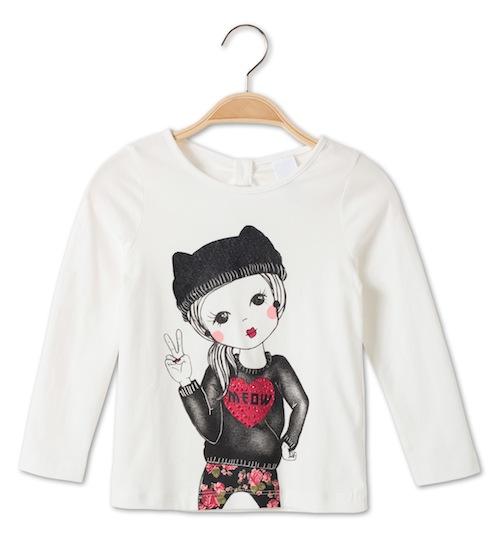 camiseta para niña meow de c y a