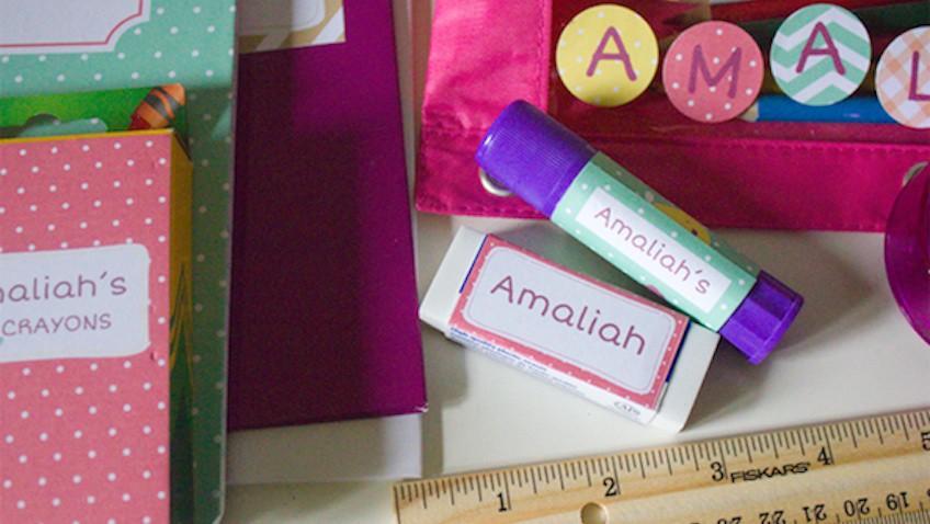 etiquetas materiales escolares personalizar gratis