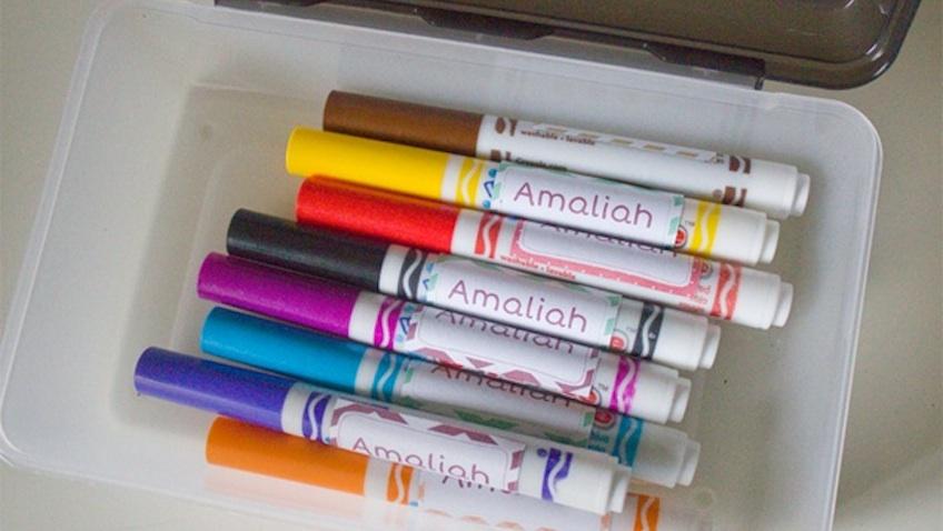 Etiquetas para marcar rotuladores de los niños