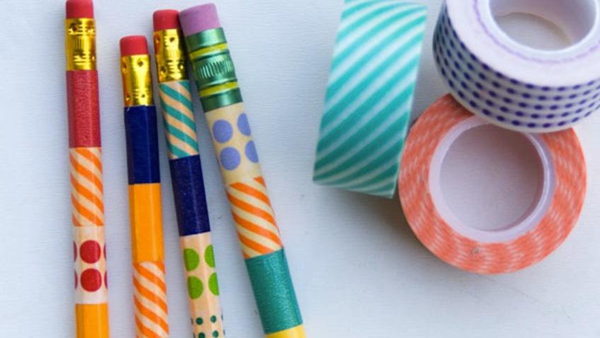 lapices con washi tape colores