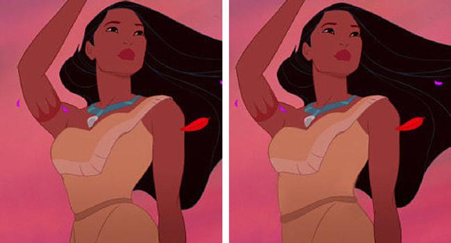 Pocahontas imagen de Disney e imagen de BuzzFeed/Loryn Brantz/Walt Disney Studios