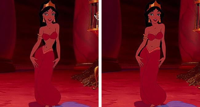 Jasmín imagen de Disney e imagen de BuzzFeed/Loryn Brantz/Walt Disney Studios