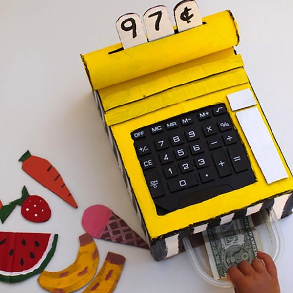 caja registradora juguete carton diy