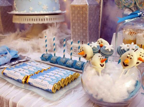 fiesta de frozen cakepops de olaf