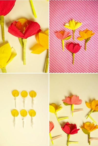 Flores DIY con piruletas para San Valentín