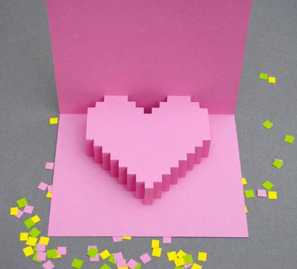 Tarjeta San Valentín 3D con corazón rosa